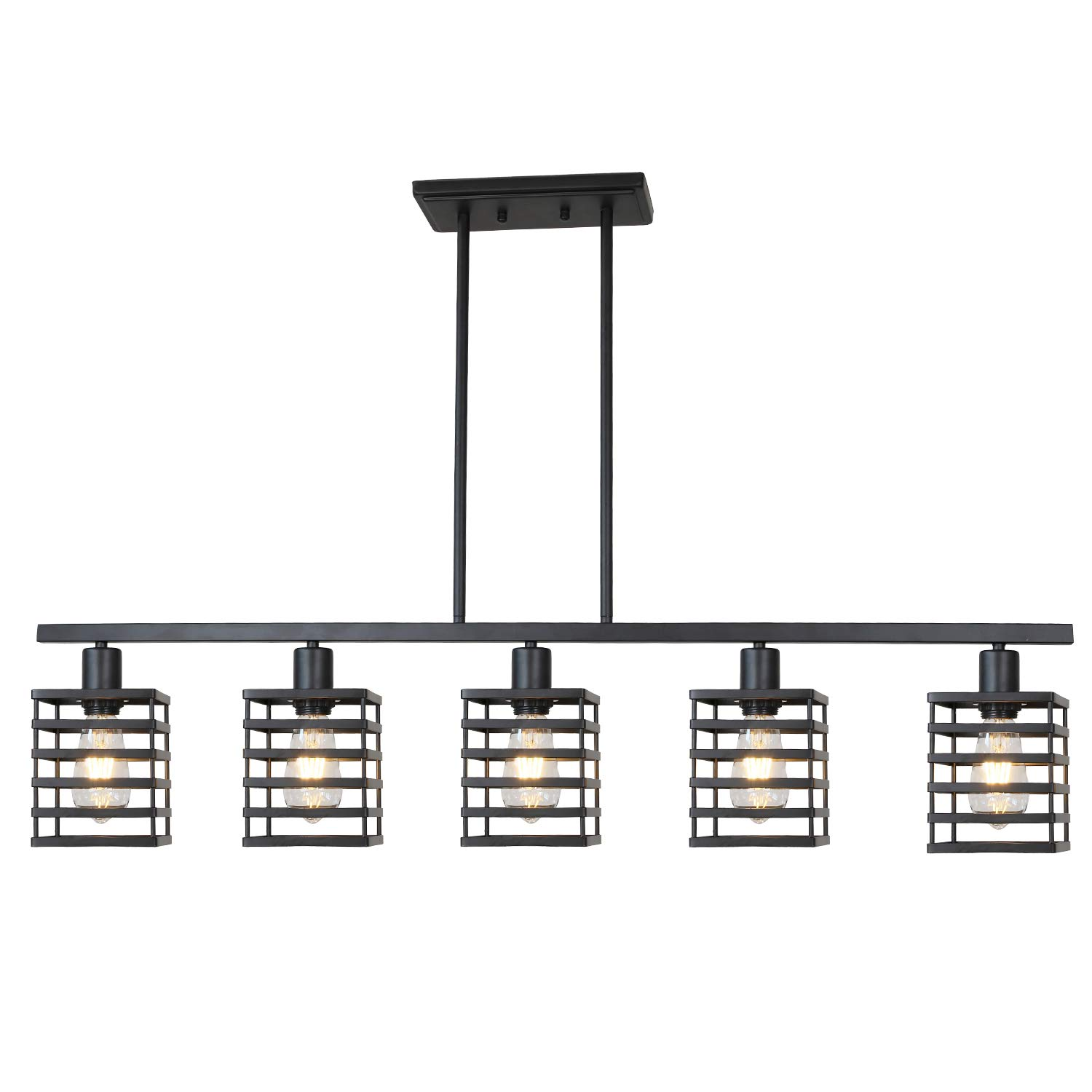 Island Pendant Lighting 5 Lights Linear Kitchen Light fixtures Rustic Semi Flush Mount Ceiling Lights Black Contemporary Chandeliers with Metal Cage Shades by Lucidce