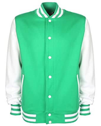 Fdm Fdm Unisex Varsity Jacket Kelly Green/white S