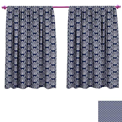 - Navy Blue Window Curtain Fabric Abstract Floral Damask with Antique Victorian Design Renaissance Flourish Drapes for Living Room W72 x L45 Dark Blue Bayberry