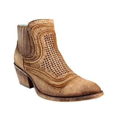 Corral Women's Sand Laser Round Toe Ankle Booties C3143