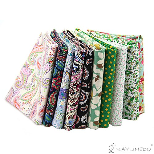 RayLineDo 10 Pcs Different Pattern Multi Color 100% Cotton Poplin Fabric Fat Quarter Bundle 18'' x 22'' Patchwork Quilting Fabric Paisley and Green Series by RayLineDo