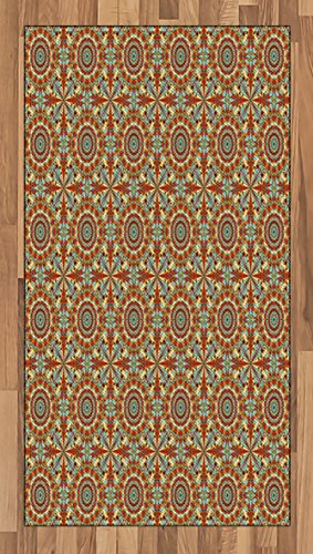 Arabian Area Rug by Ambesonne, Colorful and Geometric Patterns with Persian Ethnic Art Elements Eastern Bohemian, Flat Woven Accent Rug for Living Room Bedroom Dining Room, 2.6 x 5 FT, Multicolor by Ambesonne