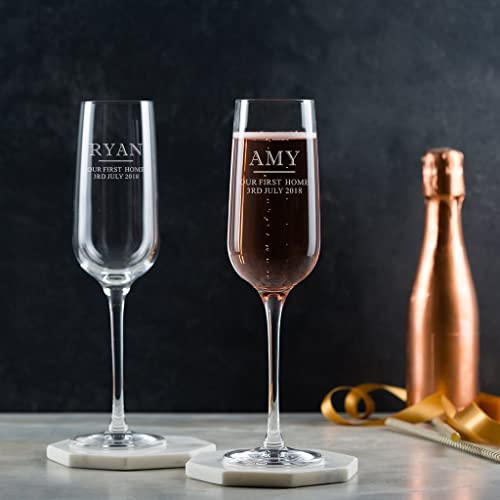 Personalised Housewarming Gifts/Two Engraved Champagne Glasses/Personalised Champagne Flutes Pair/Personalised Prosecco Flutes For Couples New Home: ...