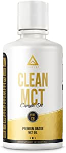 Clean MCT Oil: 100% Pure C8 Caprylic Acid Triglycerides | Best Ketogenic Supplement for Everyday Use | The Ultimate Keto Coffee Fat for Ketones | by LevelUp® (16oz)