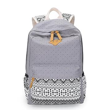 Impresión de lona Mujeres Mochila mochilas escolares para niñas adolescentes Bolsa portátil femenino Bagpack Vintage Mochila mochilas escolares Mochila Gris ...