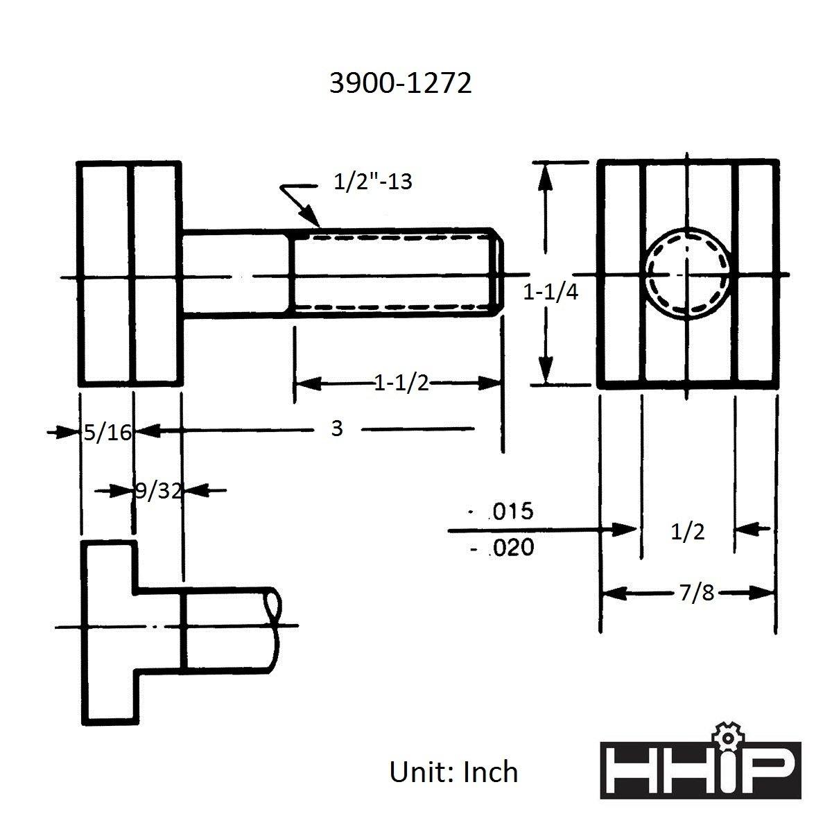 HHIP 3900-1272 Steel T-Slot Bolt, 1/2-13'' x 3''