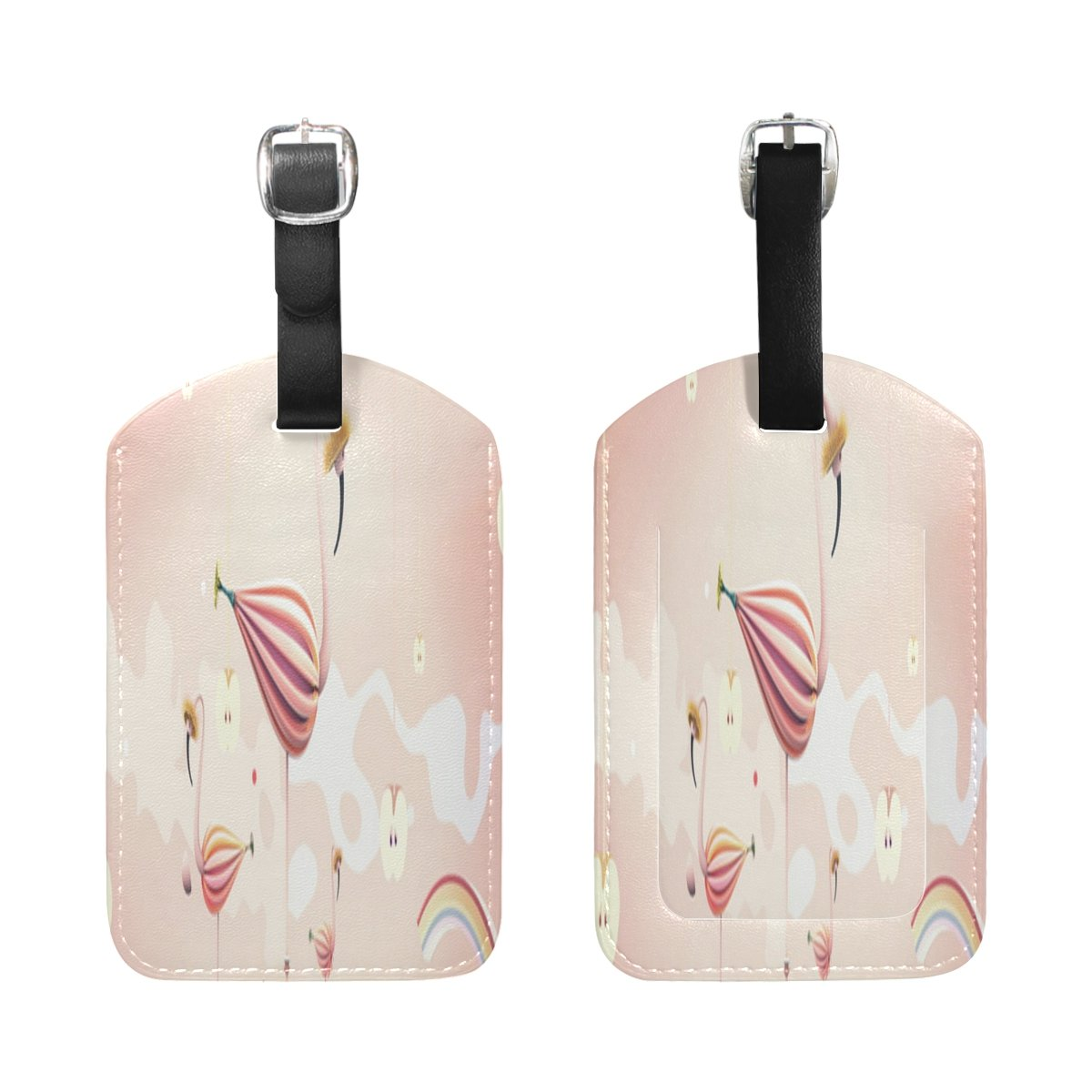 Saobao Travel Luggage Tag Flamingos And Rainbows PU Leather Baggage Travel ID