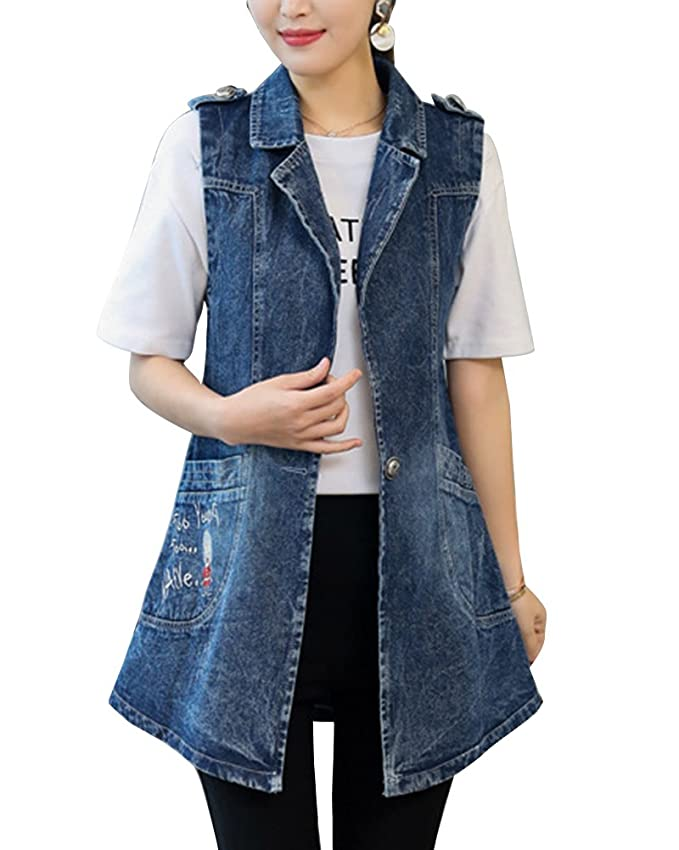 808196407a114 Runyue Women Casual Button up Loose Fit Lapel Denim Vest Sleeveless  Embroidery Cowboy Cardigan Waistcoat  Amazon.co.uk  Clothing