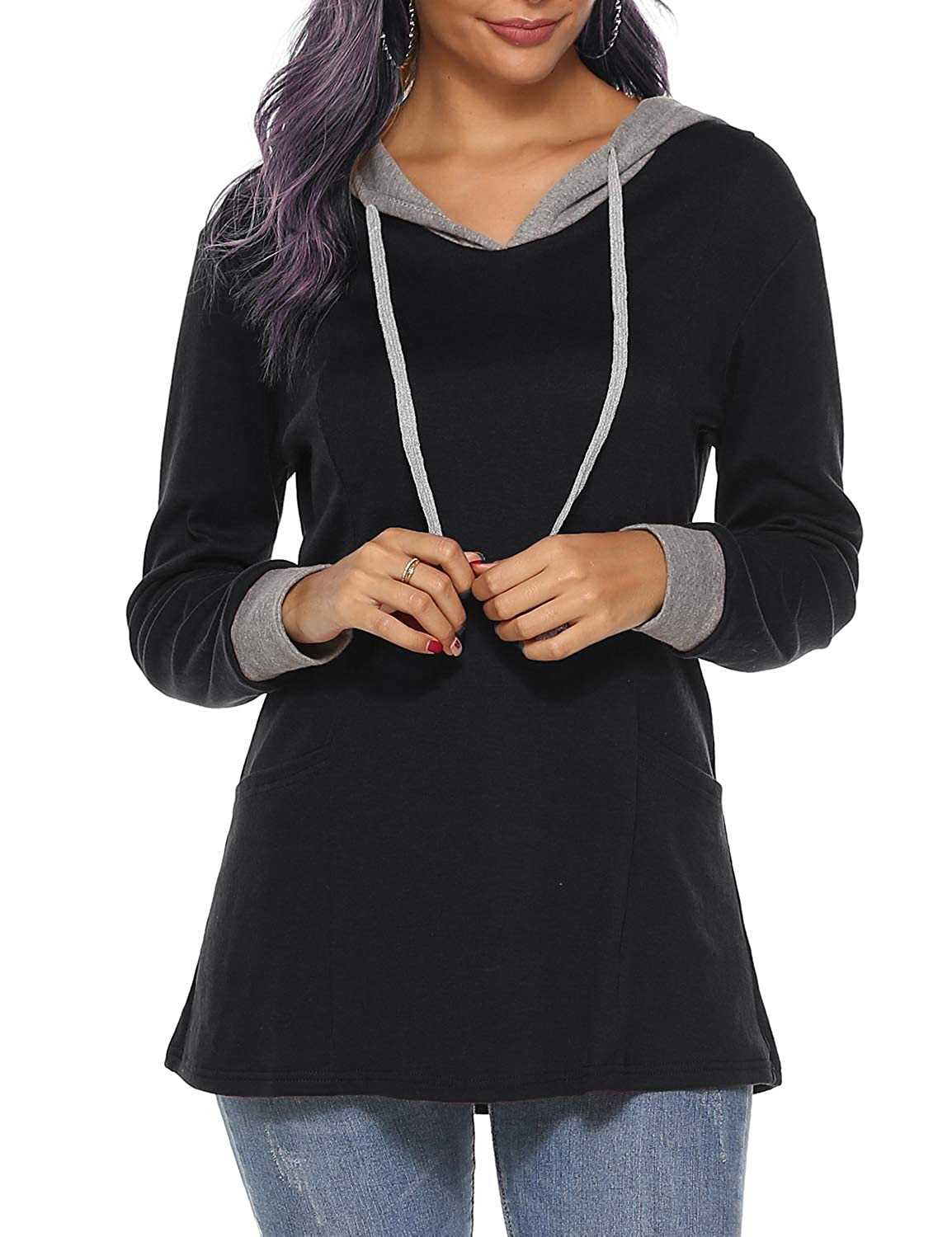 Sweetnight Womens Long Sleeve Color Block Pullover Hoodies Pocket Sweatshirt Tunic Tops