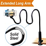 Cell Phone Clip on Stand Holder - with Grip Flexible Long Arm Gooseneck Bracket Mount Clamp for iPhone X/8/7/6/6s Plus Samsung S8/S7, used for bed, desktop, Black