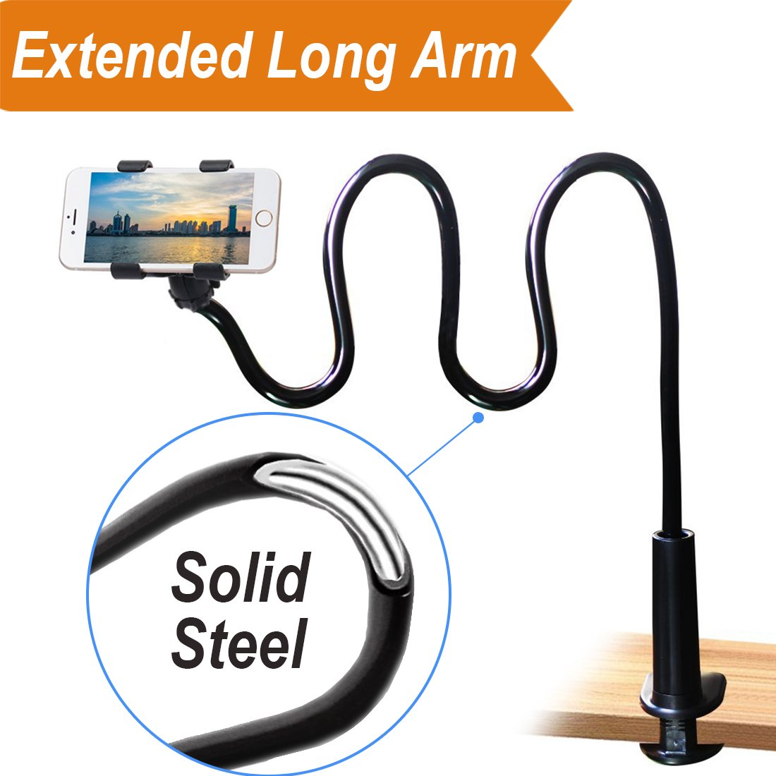 Cell Phone Clip on Stand Holder - with Grip Flexible Long Arm Gooseneck Bracket Mount Clamp for iPhone X/8/7/6/6s Plus Samsung S8/S7, Used for Bed, Desktop