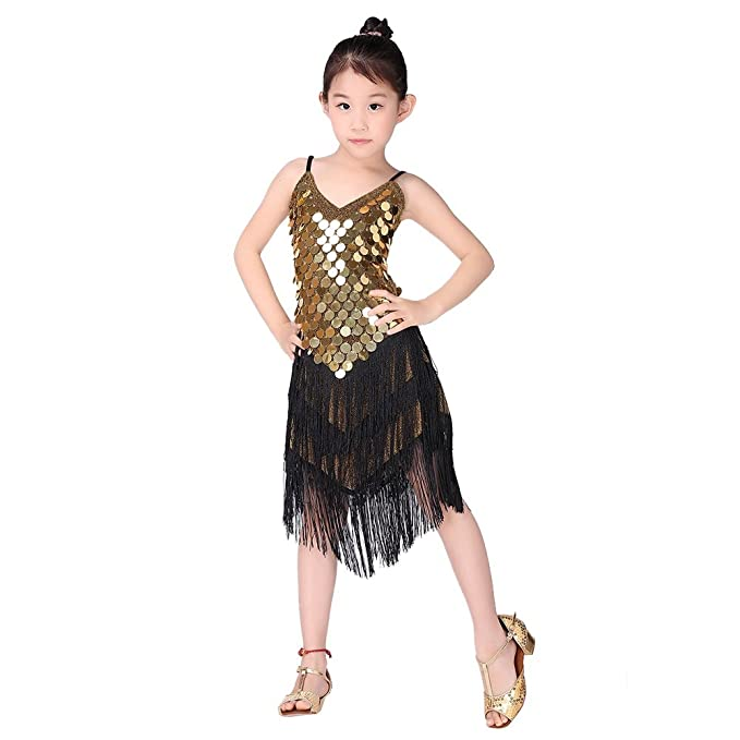 bc1a7fc70 Amazon.com: Loveble Kids Girls Latin Dance Sequined Tassel Dress Golden  Black Latin Tango Salsa Tassel Skirt Latin Costume: Clothing