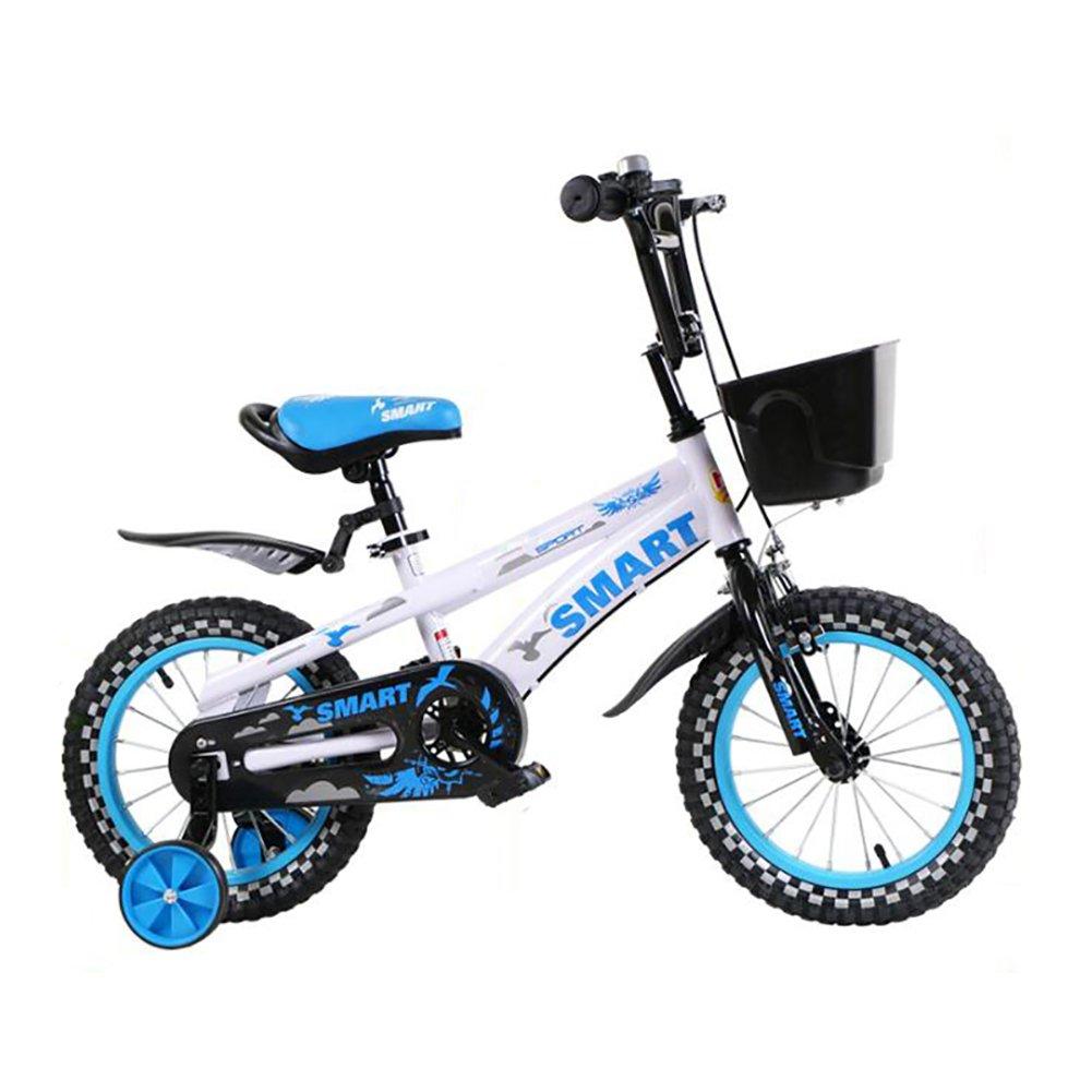 ベビーペダル自転車3-6-8歳の男の子と女の子マウンテンバイク14インチの子供用自転車青と白 B07DYMH4B416 inch