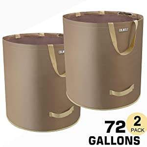 Colwelt 2-Pack 72 Gallons Garden Waste Bags, Extra Large Lawn Leaf Container, Lawn Pool Garden Leaf Waste Bag for Gardening, Home or Camping