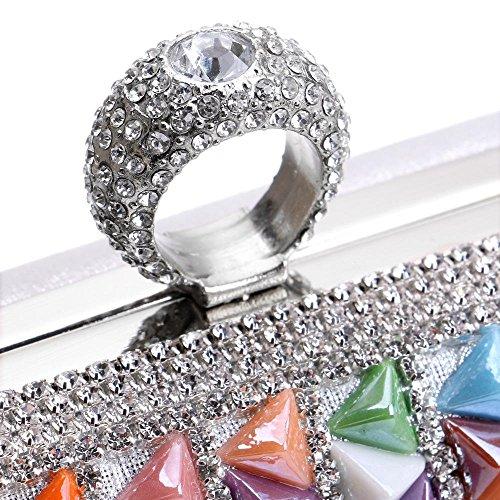 Sacs Sacs affaires Bag main Candy Femmes Metal Anneau Diamonds soirée Rivet Party Bonnes color à doigts Beaded Evening de Wedding TuTu Céramique à Mode BqwC4I8qOx