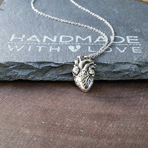 Sterling Silver Anatomical Heart Charm Necklace  18