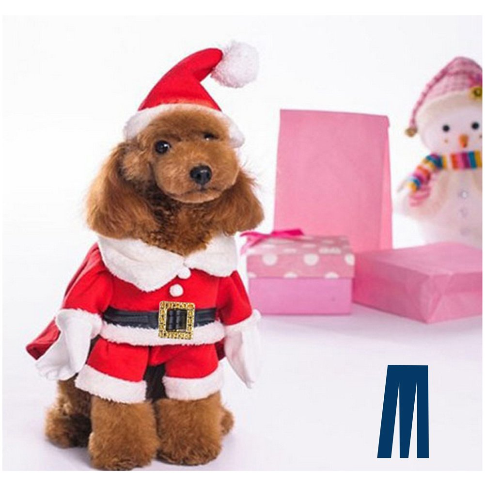 Mikayoo Christmas Costumes for Small Dog Medium Dog Or Cat, Santa Suit with Hat,Santa Dress with Hat, Santa Claus Costumes Christmas Holiday, Xmas coat with Santa Hat, Xmas dress with Santa Hat(M) dt