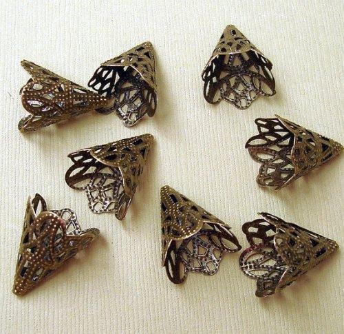 BeadsTreasure 20pcs - Filigree Cone Antiqued Bronze Bead Caps 20 mm Jewelry Making Supply. Filigree Cone