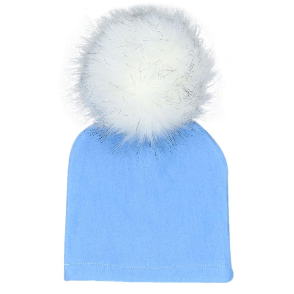 b6a7deb5d5d Weiyun Baby Winter Hairball Hat Baby Bobble Beanies Cotton Caps Big Faux Fur  Pompom Hats Kids