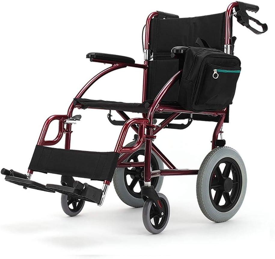 Wheelchair Silla de Ruedas angosta autopropulsada Lite, Aleación de Aluminio Liviana Silla de Ruedas Plegable Pedal Desmontable Respaldo Plegable Silla de Ruedas para discapacitados