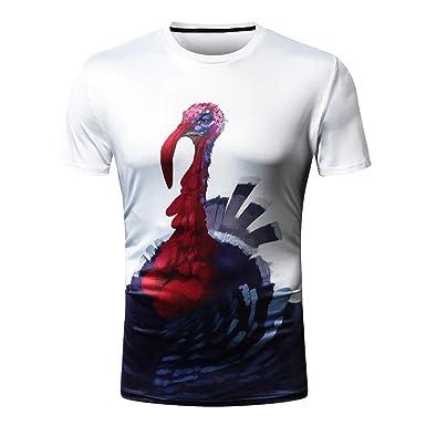 d1ed0d379341 VIASA Fashion Mens Owl 3D Printing Tees Shirt Short Sleeve T-Shirt Blouse  Tops (