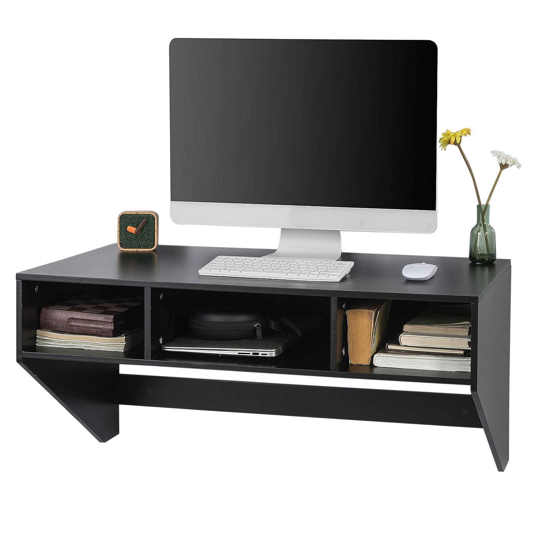 SoBuy Scrivania Computer a Muro con 3 cubi per Libri e Accessori FWT14-SCH