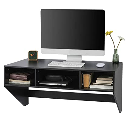SoBuy FWT30-W Home Office Desk Computer Workstation Wall Dressing Table Wall-mounted Computer Table Desk White