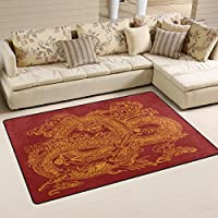 LORVIES Chinese Dragon With Sushi Area Rug Carpet Non-Slip Floor Mat Doormats for Living Room Bedroom 60 x 39 inches