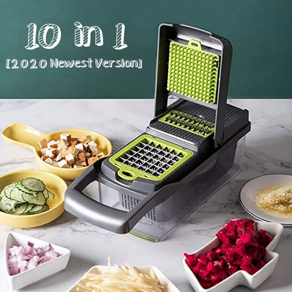 Vegetable Chopper with 7 Blades Used as Onion Chopper, Bell Pepper, Celery, Potato Diced and Carrot Slicer (Grey+Green)