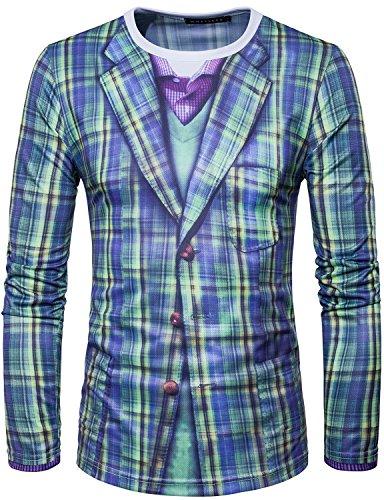 Whatlees Mens Green Plaid Suit Printed Long Sleeve T Shirt T038 (Basketball Christmas)