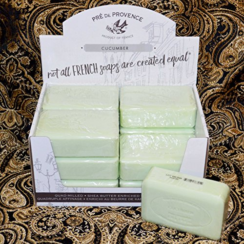 (Case of 12 Pre de Provence CUCUMBER scent 250 gram shea butter extra large soap bars)