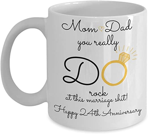 Amazon Com 24th Wedding Anniversary Gift For Parents Mom And Dad Best Happy 24 Th Yr Twenty Fourth Twenty Four Year Unique Fun Ideas From Kids Son Daughter C Kitchen Dining