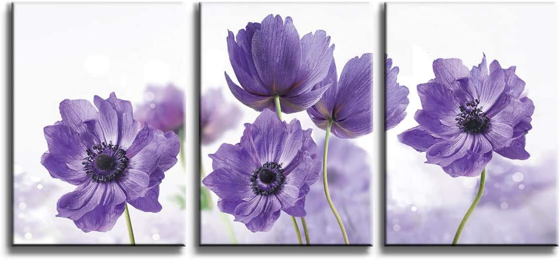 Canvas Art Wall Decor For Bedroom Purple Flower Bloom Close Up Pictures Prints On Canvas Wall Decoration For Bedroom Simple Life Modern Minimalism Artwork Framed Wall Art 3 Piece Canvas Wall