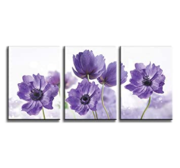 Canvas Art Wall Decor for Bedroom Purple Flower Bloom Close Up Pictures  Prints on Canvas Wall Decoration for Bedroom Simple Life Modern Minimalism  ...