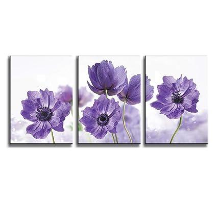 Amazon.com: Canvas Art Wall Decor for Bedroom Purple Flower Bloom ...