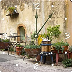 Rikki Knight Cute Vintage Italian Street Design 8 Art Wall Clock