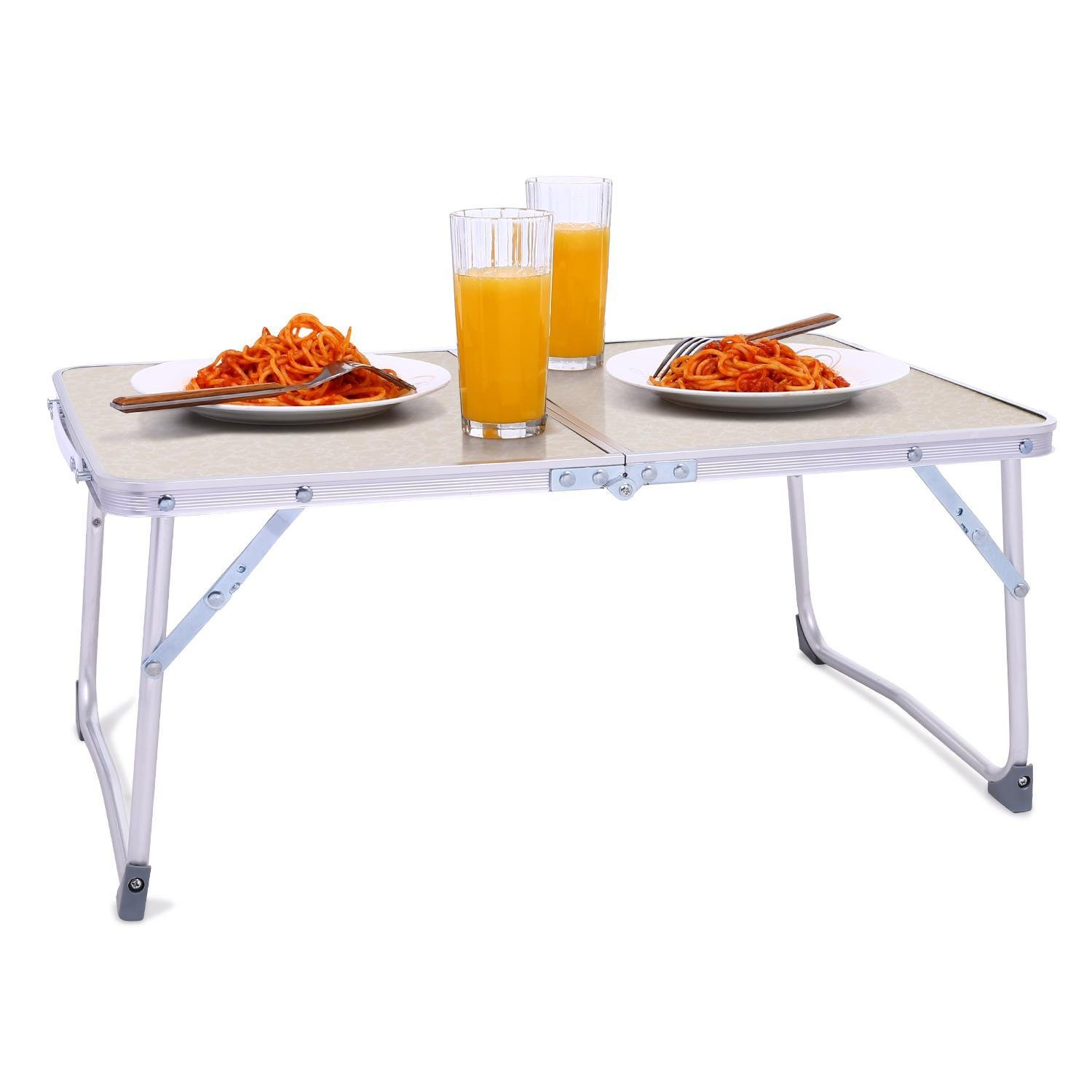 Rapesee Folding Aluminum Table Outdoor Picnic Camping Table 4 Person Portable Adjustable Family Outside Party Dining Desk, 23.74 x 17.80 Inch (White)