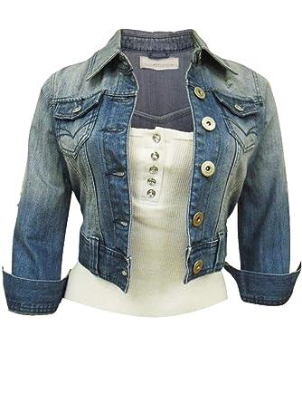 magasin d'usine a372e 09175 SS7 - Blouson - - Manches 3/4 Femme Bleu Bleu jean