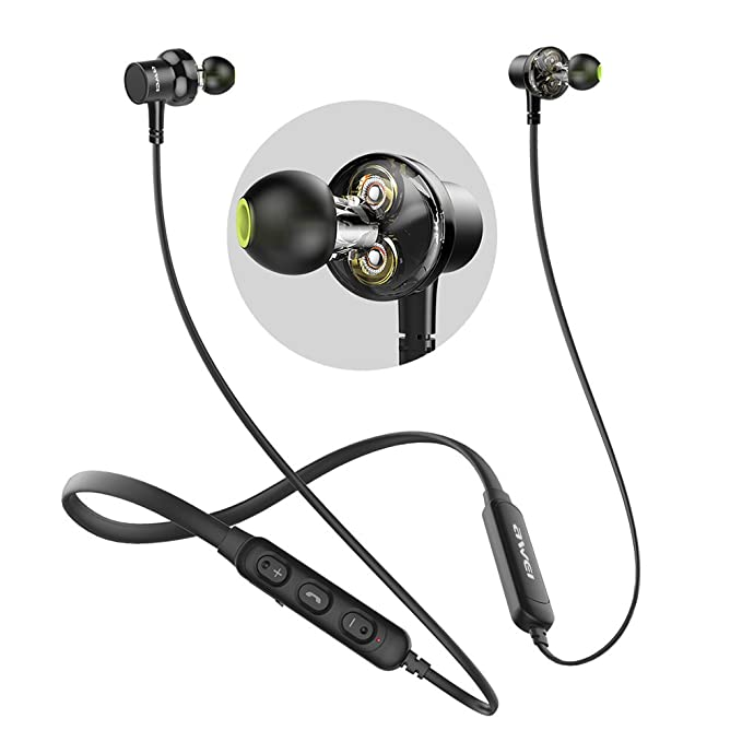 98d512fb89c Bluetooth Headphones, AWEI Wireless Neckband Headset, Dual Drivers Earphone,  Magnetic Sports Earbuds with