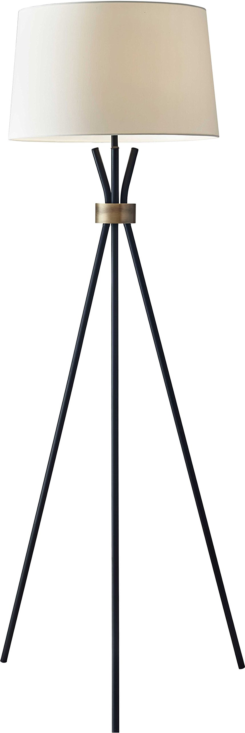"""Adesso 3835-01 Benson Floor Lamp, Black, Smart Outlet Compatible, 60"""" - A stunning silhouette with mid-century elements Modified drum shade in off-white linen Smart Outlet Compatible - living-room-decor, living-room, floor-lamps - 61nnRAJ4qrL -"""