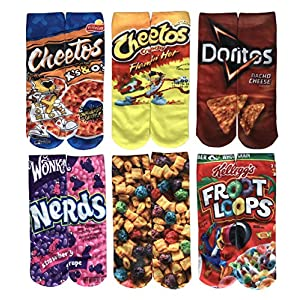 SherryDC Women's Fashion Funny Crazy Food Print Novelty Cute Casual Crew Tube Socks