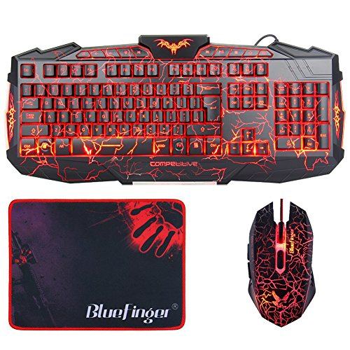Gaming Keyboards with Mouse, BlueFinger LED Backlit 3 Color Adjustable USB Wired Keyboard Mouse Set with Cool Crack Pattern Glowing Mouse and Customized Gaming Mouse Pad