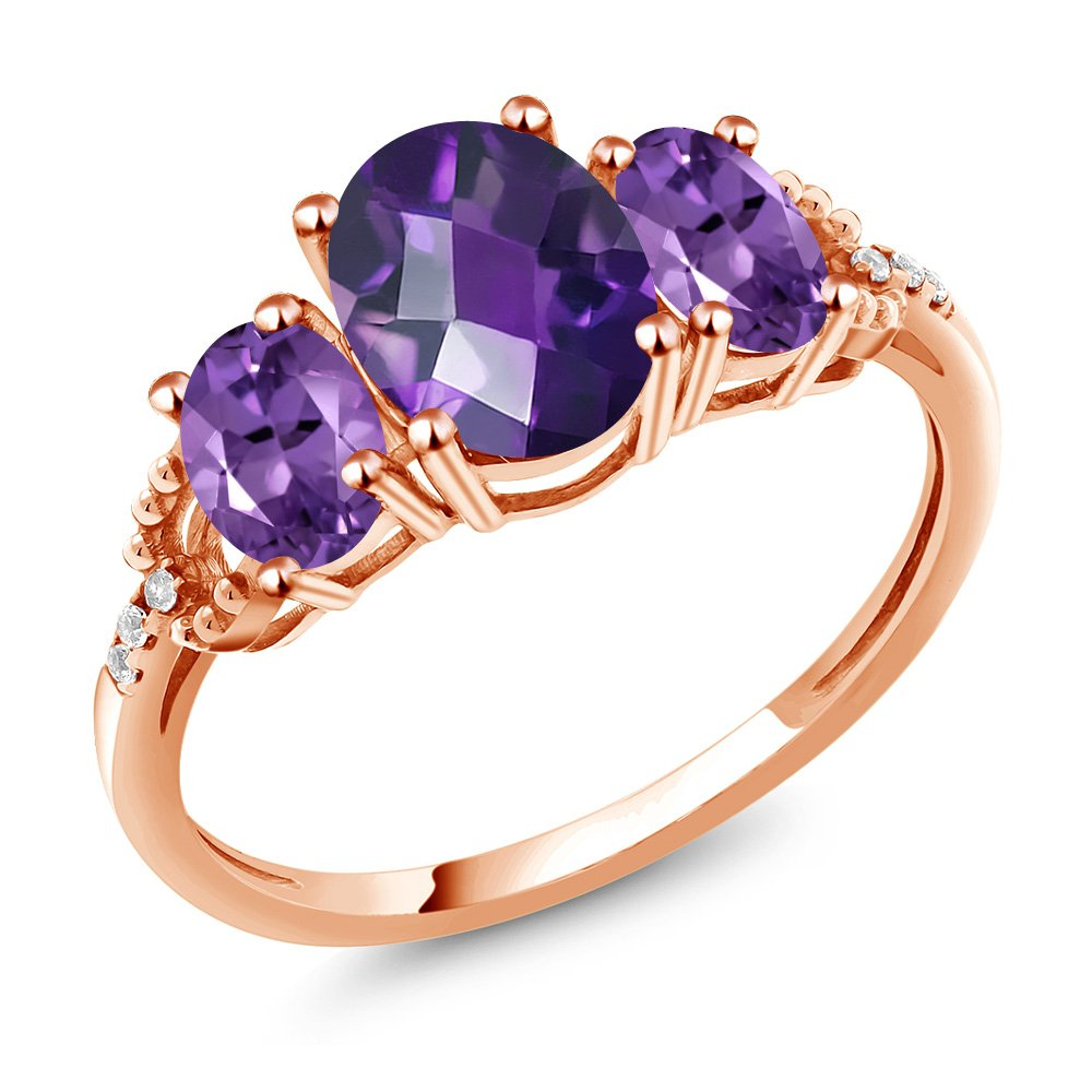1.74 Ct Oval Checkerboard Purple Amethyst 10K Rose Gold Diamond Accent Ring