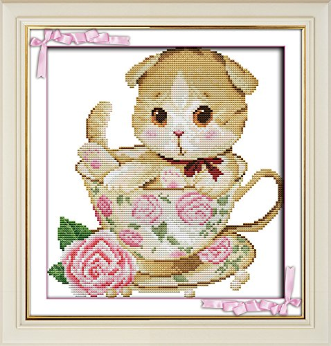 Full Range of Embroidery Starter Kits Stamped Cross Stitch Kits Beginners for DIY Embroidery with 40 Pattern Designs - Teacup cat
