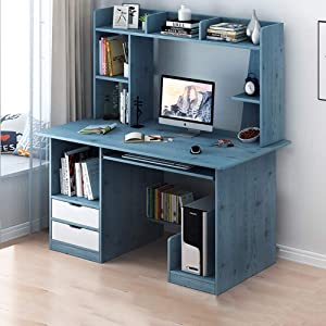 47 Inch Computer Desk with Hutch and Bookshelf,Modern Sturdy Office Desk Pc Laptop Table Workstation with Display Shelves for Home Office