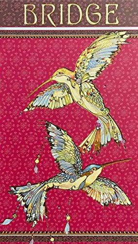 Pictura Gold Foil Embellished Bridge Score Pad, Indigo Hummingbirds