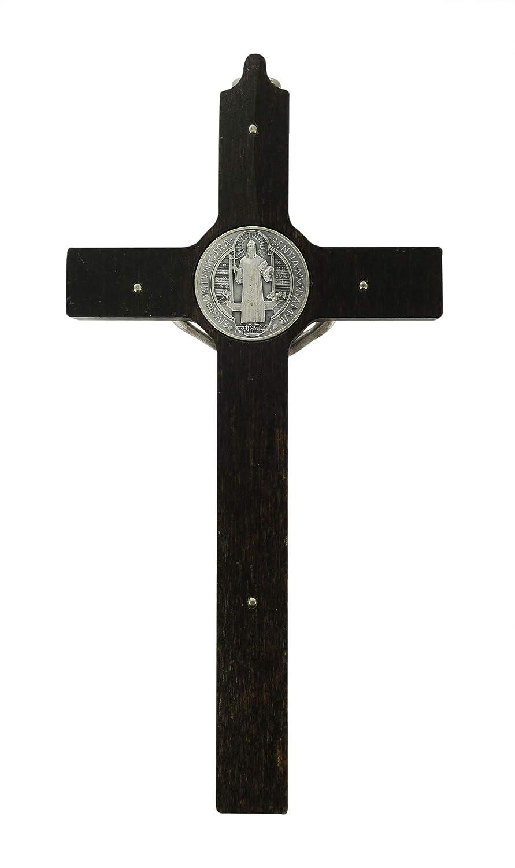 Croce di San Benedetto in legno Cristo in metallo cm 16