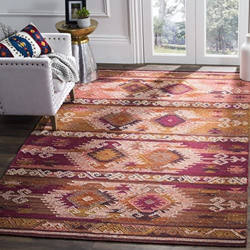 Safavieh Canyon Collection CNY108A Hand-woven Flatweave Wool Area Rug, 8 x 10 , Pink Red