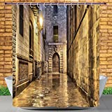 Homenon Beautiful Shower Curtain by, Gothic,Dark Stone Ancient Street Spain European Horror Dark Evil Renaissance Medieval Art Photo,Beige,Polyester Fabric Bathroom Shower Curtain Set with Hooks