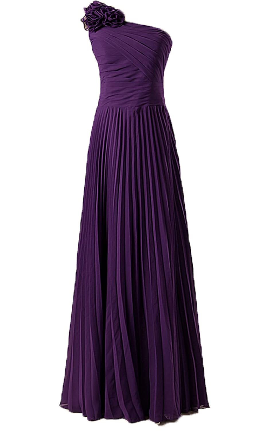 Anna's Bridal Women's Flowers One Shoulder Bridesmaid Dresses Long Prom Gowns